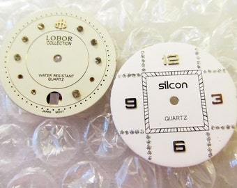 2 Fancy Crystal Art Deco Watch Face Dials, From Lobor and Silcon, Watch Parts, For Steampunk Art, Repairs, or Jewelry #829A