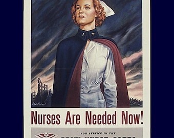"""8x10"""" Cotton Canvas Print, Nurses are Needed, Army Corps, Recruitment, Military"""