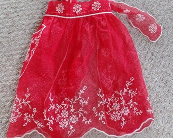 Retro red Tulle?? apron, with white embroidery