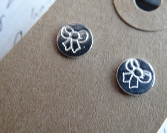 Handmade .999 Fine Silver Hand Stamped Bows Post Earrings, Gifts under 50