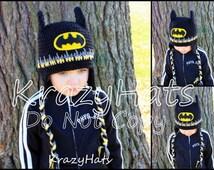 Crochet Batman hat.Handmade batman hat