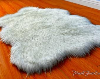 Royal Purple Shaggy Round Area Rug Throw Decor Luxury Faux Fur