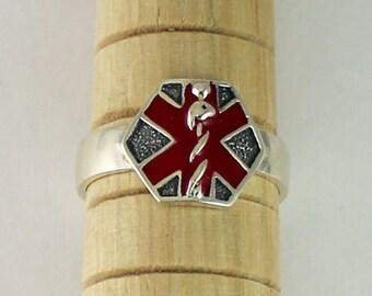 Sterling Silver Enamel Medical ID Ring, Medical Awareness, Alert Jewelry, Medical Jewelry, Medical ID, Medical Band Ring, SR37