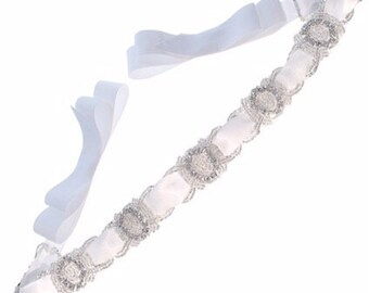 Links Crystal Beaded with Satin Ribbon Tie Bridal Wedding Sash Belt, White