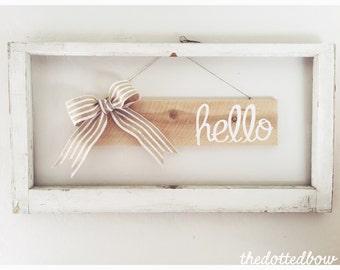 Hello wood sign / Front door sign