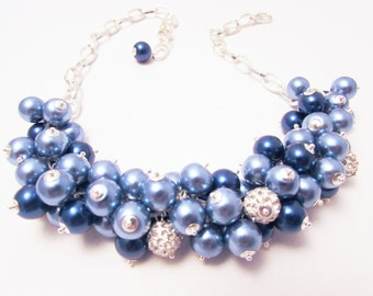 Bridal, Bridesmaid Pearl and Crystal Beaded Necklace, Indigo and Purple, Bridesmaid Gift, Wedding Jewelry, Chunky Beads, Cluster Beads