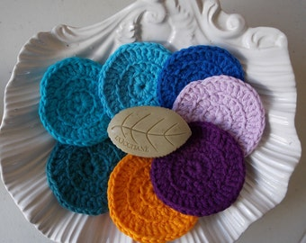 Face scrubbies make up cosmetic removal pads set of 7 for 7 days a week ecofriendly reusable washable purple lavender yellow teal blues