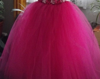 TuTu - flower girl dress, Festival dress, tulle, baptism, wedding - custom size