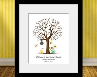 Baby Shower Thumbprint Tree, Bumblebee Baby Shower Thumbprint Tree, Gender Reveal Party Decor, Honeybee Guestbook Thumbprint Tree