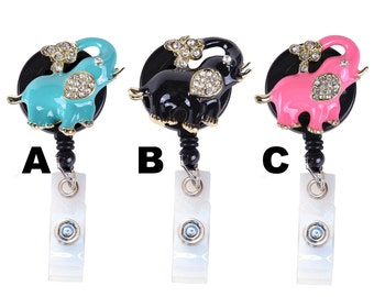 New Limited Edition Custom Bling 3D Crystal Rhinestone Sprouting Elephant Badge Reel Retractable Elephant ID Badge Holder