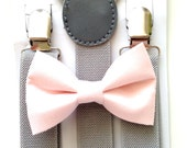 Light gray suspenders and light pink bow tie set baby boys boy teens adult family photoshoot wedding formal ring bearer