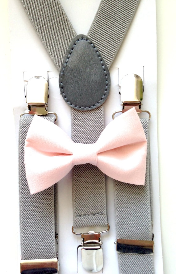 Light Gray Suspenders and Light Pink Bow Tie