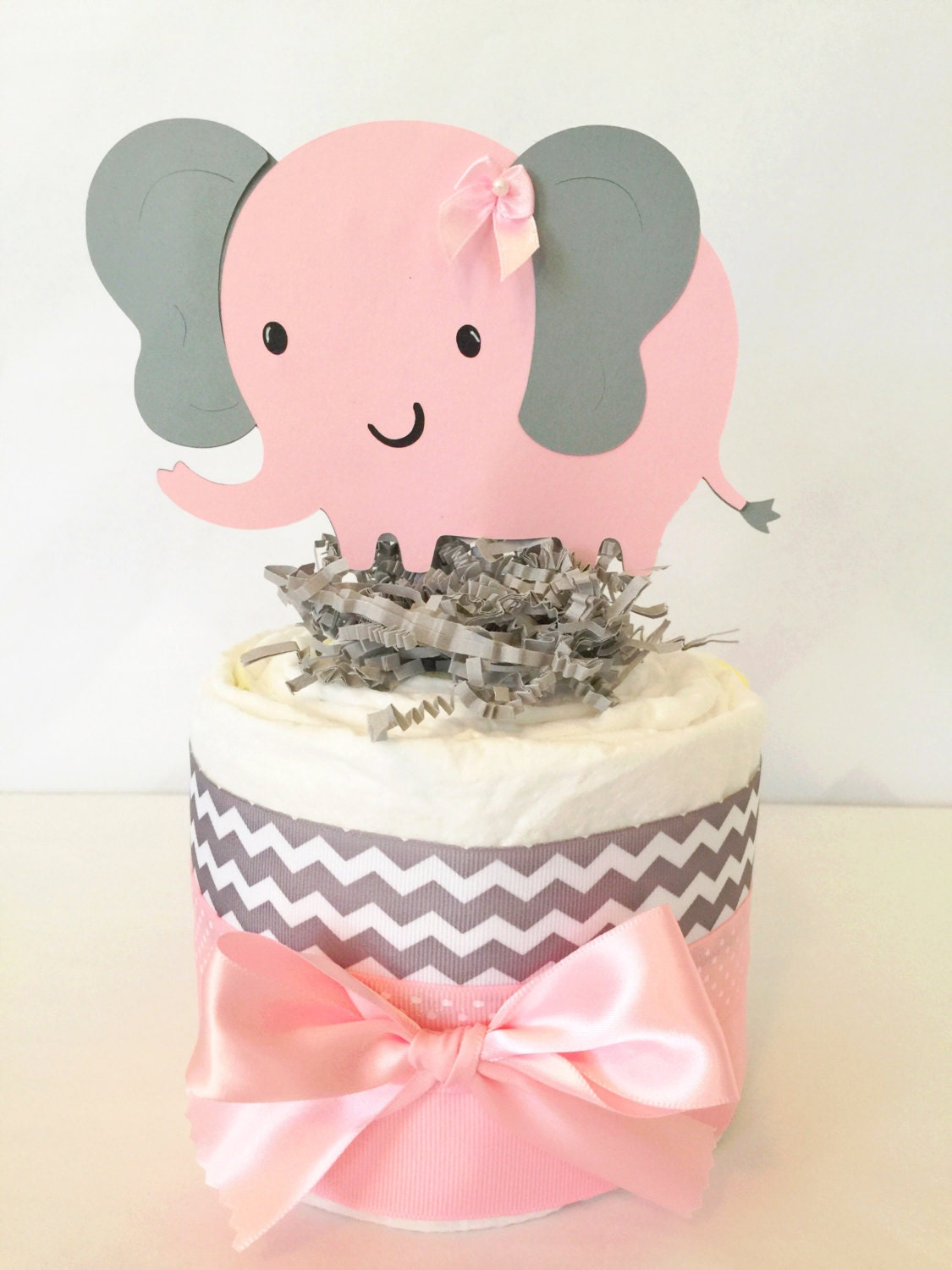 Baby Shower Diaper Cake Pink Elephant Centerpiece