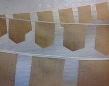 Unique rustic wedding banquet bunting with square shield style hessian burlap flags 10 meters 34 feet