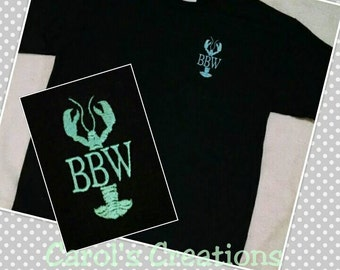 Monogram T-Shirt/Crawfish Shirt/Lobster Shirt/Men or Boys Crawfish Lobster Monogrammed T-Shirt/Monogrammed Crawfish Lobster Shirt