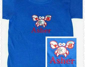 Unisex Shirt/Appliqued Monogrammed T-Shirt/Lil' Crabby Appliqued Monogrammed T-Shirt/Crab Shirt/Monogram/Beach Shirt/Monogram Unisex Shirt