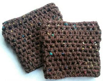 Coffee Crochet Boot Cuff, crochet boot sock, crochet boot topper, womans boot cuff, coffee boot socks, boot sock, boot cuff, boot topper