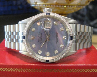 Mens ROLEX Oyster Perpetual Datejust Diamonds White Gold Mother-of-Pearl Watch