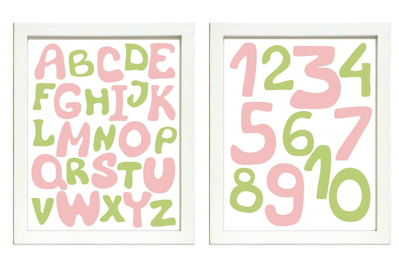 Pink Green Alphabet Kids Room Nursery Art ABC Letters Numbers Nursery Print Set of 2 Child Baby Art