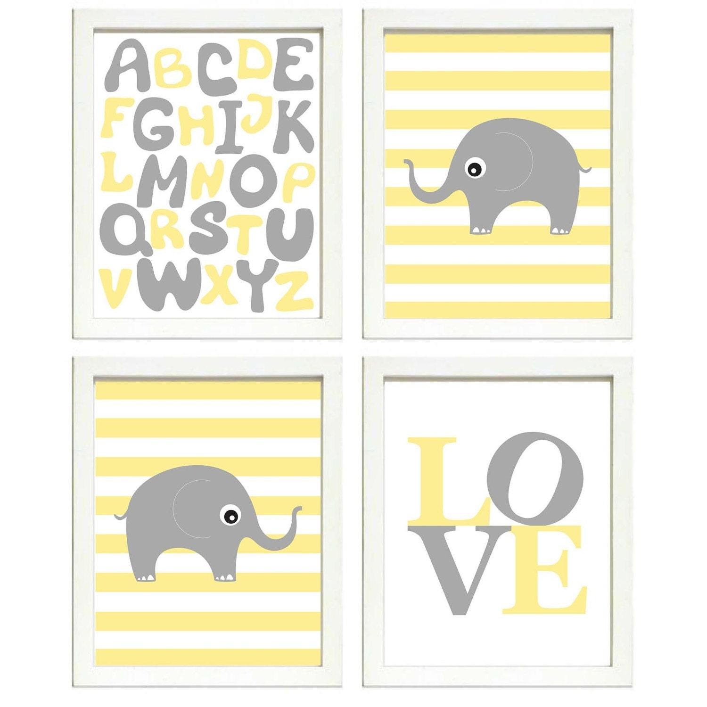 Elephant Nursery Art Set of 4 Prints Grey Yellow Stripes LOVE Alphabet ABC Child Kids Room Wall Deco