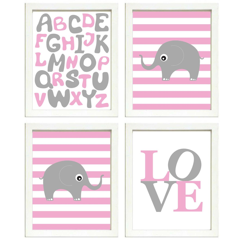 Elephant Nursery Art Set of 4 Prints Grey Pink Stripes LOVE Alphabet ABC Child Kids Girl Room Wall D