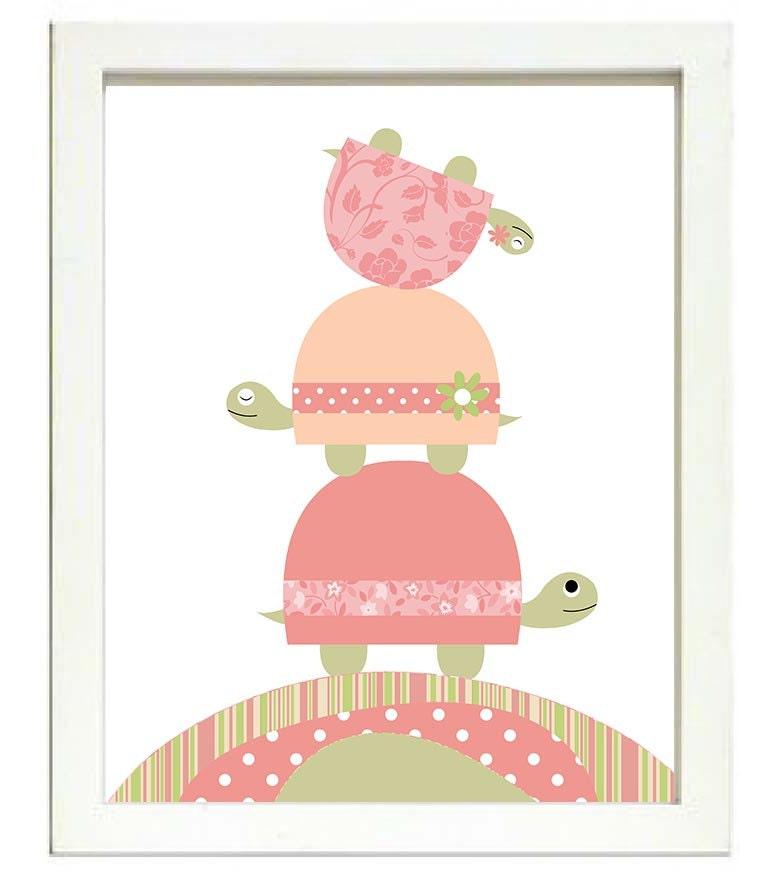 Turtle Nursery Art Nursery Print Baby Art Baby Animal Turtle Pink Green Grey Gray Polka Dots Wall Ar