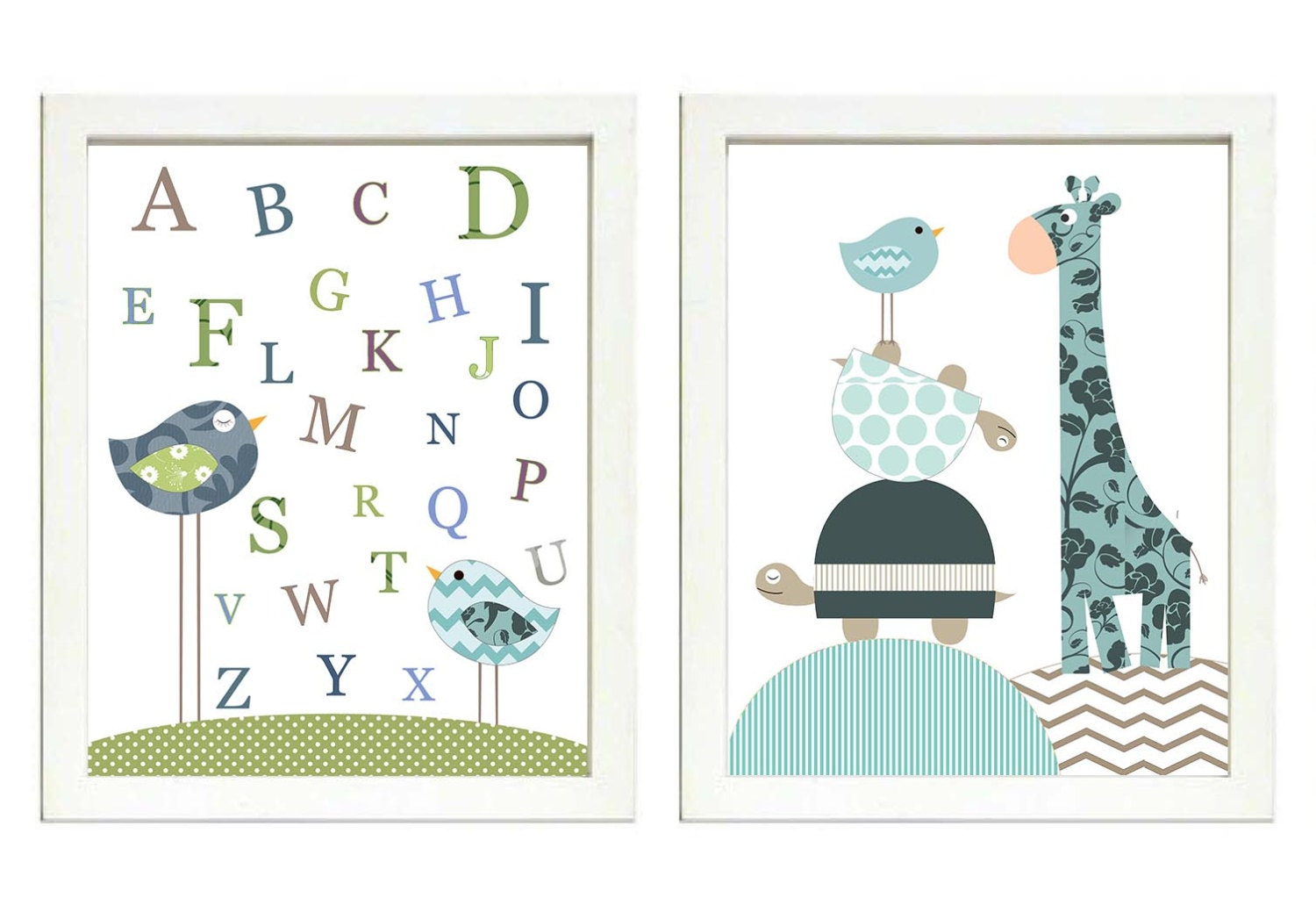 Blue Teal Green Brown Boys Nursery Art Print Set of 2 Bird Turtle Giraffe ABC Alphabet Baby Nursery