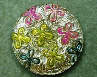 Czech Glass Button 31mm - hand painted - uranium/vaseline glass, gold, pink, yellow, green (B32067)