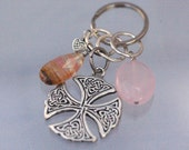 Love Is Everywhere; Celtic Cross and Rose Quartz Gemstone Keychain; Inspirational Keychain