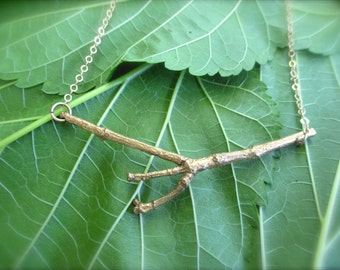Brass Twig Necklace - Nature Forest Fairy Jewelry