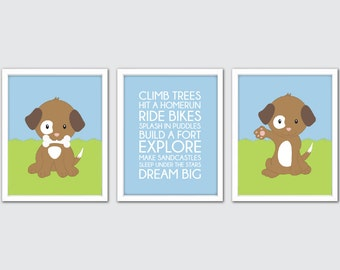 Dog Nursery Art, Dog Bedroom Art, Puppy Nursery Print, Dog Room Decor, Dog Print, Brown Puppy Wall Art, Pet Nursery Art Print, Dog Artwork