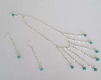 Turquoise and Silver Chain Necklace