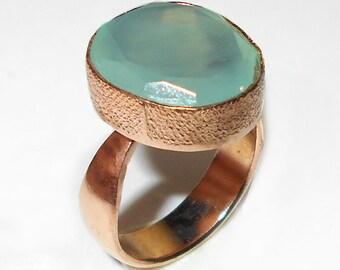 Aqua Chalcedony Ring, Gemstone Ring, Handmade Ring, Faceted Ring, Bezel-Set Ring, Gold Ring, Gold Plated Ring, Gemstone Ring, Rose Gold Ring