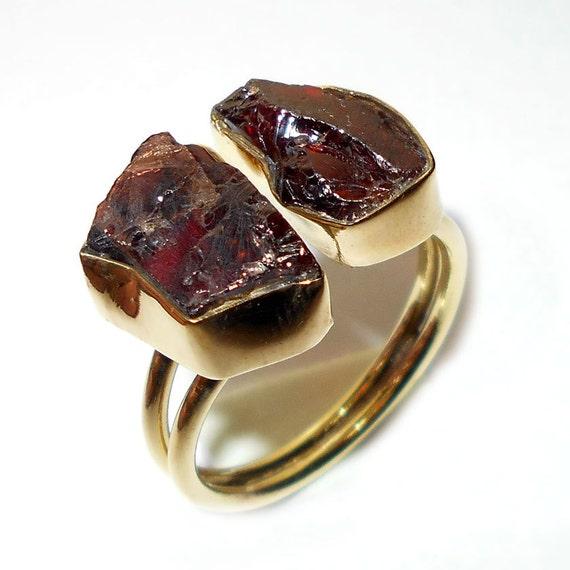 Semi Precious Gemstone Raw Stone : Garnet ring semi precious raw stone rough by vedka