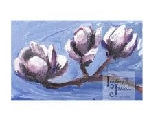 Botanical illustration Tulip Magnolia Illustration Pink flowers acrylic painting in a 5x7 double mat desk art