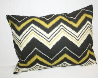 Decorative 12x16 Dark Brown and Gold Chevron Zig Zag Pillow Cover