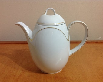 Vintage Kaiser Germany Teapot Domino Malmö White Porcelain with Gold Accent