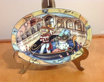 Tourist Cat in Venice Italy Rialto Bridge Porcelain Plate