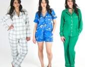 Carolyn Pajama Pattern - Classic notched pajama top and slim pajama pants and shorts