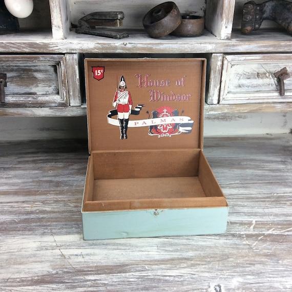Man Cave Windsor : Rustic cigar box blue wood trinket holder man by