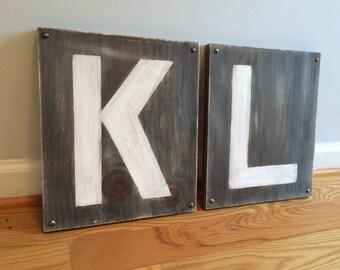 "2 LARGE WOOD LETTERS- Custom 13"" Letters Wood- Alphabet Letter Decor"