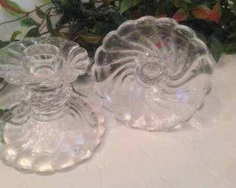 pair vintage Fostoria Glass Colony pattern clear swirl glass scalloped tapered candle holders