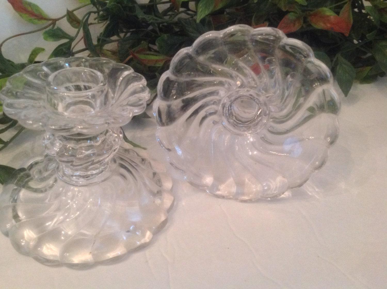 Pair Vintage Fostoria Glass Colony Pattern Clear Swirl