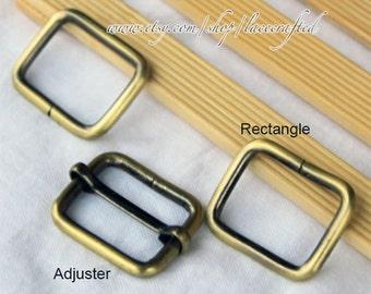 5sets 2.5cm Moveable bar adjuster rectangle sliders strap adjuster and split rectangle loop rings for bag strap handle handbag tote makeing
