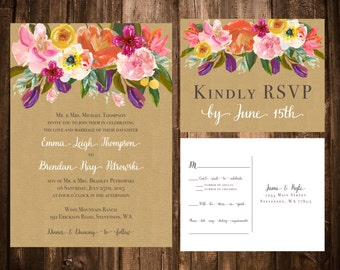 Bright Spring Florals on Kraft Wedding Invitation Suite; Floral, Spring