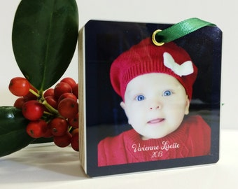 Ornament Personalized Photo Wood Modern Tree Christmas Perfect gift grandparents baby's first christ