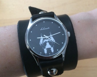 East Side Collars & Doberati: Woman's Wide Leather Graphic Watch