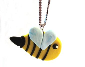 Yellow Polymer Clay Bee Pendant/Charm, Yellow Bumblebee, Bee Jewellery, Bumblebee Jewelry, Yellow Polymer Clay Jewellery, Clay Bee Pendant