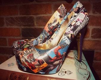 Size 7-8 custom made comic book heels