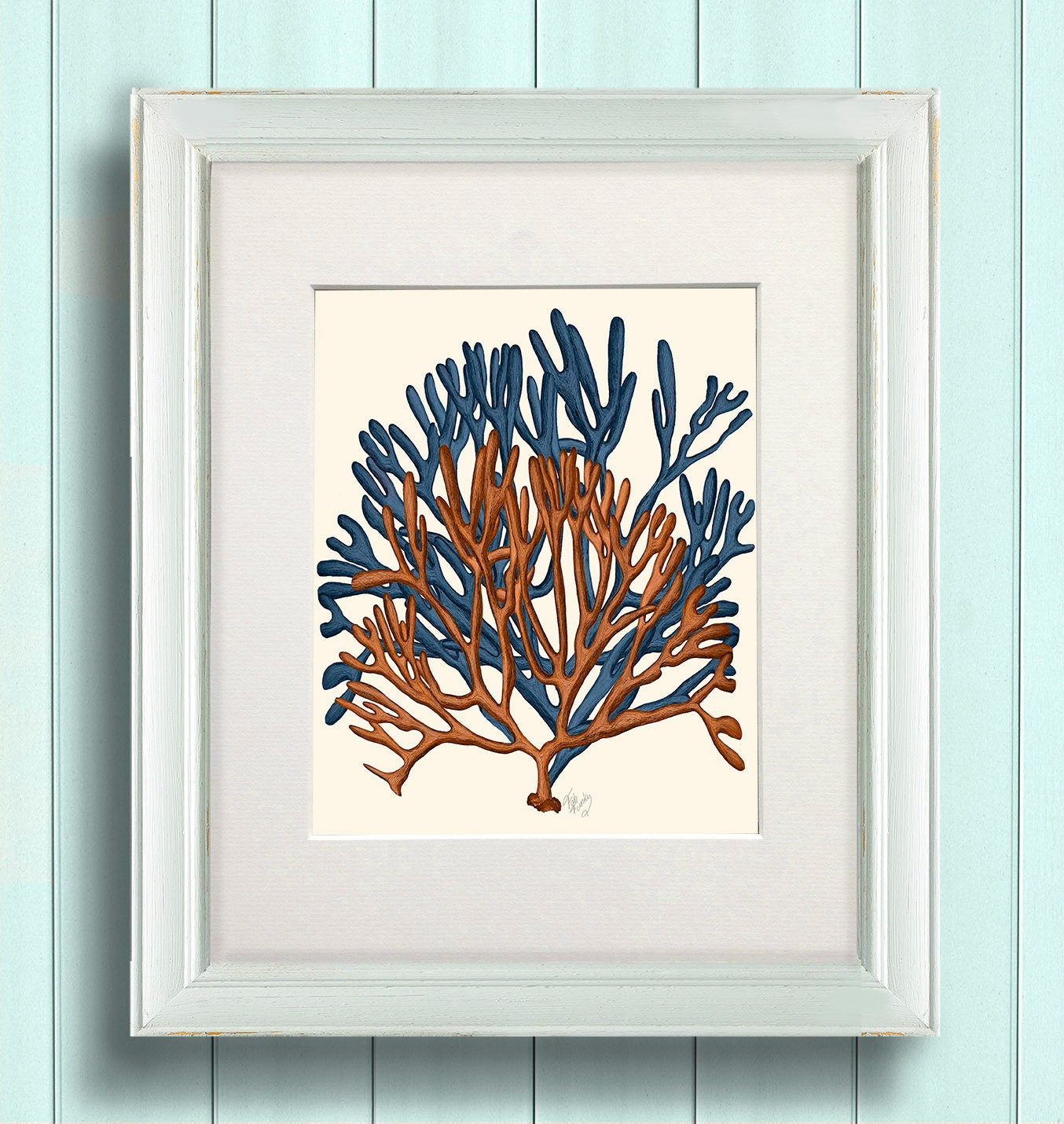 Coral home decor blue and orange coral print 1 by nauticalnell for Coral decorations for home